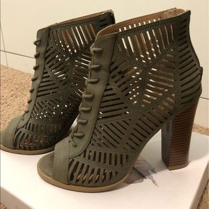 Shoes - Olive Green Open Toes Booties
